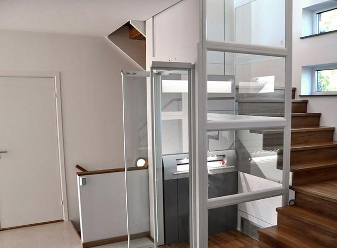 泰祥府邸 一体式观光井道钢带式别墅梯